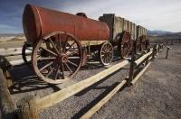 A wagon train which was hauled by a team of 20 mules at the Harmony Borax Works in Death Valley, California, USA.
