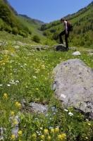 A woman stops near a rock while hiking in the Val d'Aran in the Pyrenees in Catalonia, Spain.