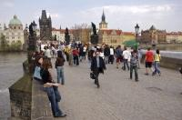 The historic Charles Bridge in Prague is a crossing that many people venture on while visiting the Czech Republic in Europe.