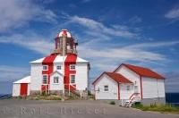 The intriguing striped red and white building is home to the historic Cape Bonavista Lighthouse in Newfoundland Labrador in Canada.
