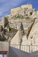 The historic Morella Castle in the Province of Castellon, Valencia, Spain was occupied by many different armies throughout the years.
