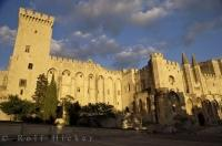 The historic Palais des Papes looms over Avignon in Provence, France in Europe.