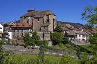 The historic village of Anso and the Iglesia Parroquial de San Pedro in the Valle de Anso, Huesca in Aragon, Spain, Europe.