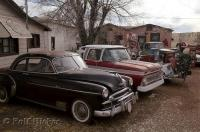 Some old cars in a yard along the Historic Route 66 in Seligman, Arizona, USA.
