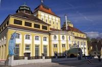 A historic building in Freising, Bavaria known as the Hofbrauhaus Brewery.