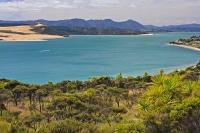 Beautiful colored waters of the Hokianga harbour near Omapere on the North Island of New Zealand.