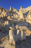 A series of rock formations called hoodoos in the Bisti Wilderness Area. These hoodoos are slowly being unearthed by the forces of nature.