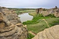 Rafting along the Milk River in Southern Alberta, Canada allows visitors to have a unique view of the Hoodoos in Writing on Stone Provincial Park.