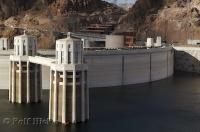 The engineering feat of the Hoover Dam which also acts as a bridge from the Nevada side to the Arizona Side.