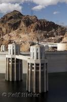 Lake Mead and the Hoover Dam with the Infromation center in Nevada, USA.