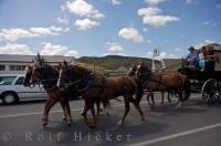 A horse and wagon are part of a procession in the town of Roxburgh in Central Otago, New Zealand which is part of a fundraiser for the Westpac Helicopter Rescue.
