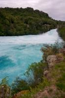 Lush green trees surround the fast moving Huka Falls in Wairakei Park on the North Island of NZ.