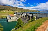 The Aviemore Dam is the main source of the Waitaki River hydroelectric system along Highway 83 in North Otago on the South Island of New Zealand.