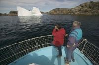 Iceberg watching is a great tourist activity in early summer on Newfoundland in Canada.
