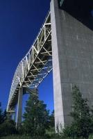 The International Bridge connects the two towns of Sault Ste Marie, one in Ontario Canada and one in Michigan, USA.