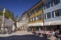 The town lane is full of outdoor cafes in the Italian town of Bruneck, Italy in Europe.