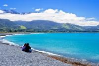 The view to the sea and the Kaikoura Ranges is stunning from the beach in the town of Kaikoura on the South Island of New Zealand.