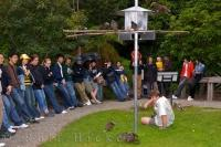 Visitors watch as the Kaka birds enjoy their feeding time at the Mount Bruce National Wildlife Centre in Wairarapa on the North Island of New Zealand.