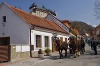 A great form of transportation to embark upon while sightseeing in the village of Karlstein in the Czech Republic, is a horse and buggy ride.