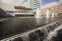 A pretty fountain adorns the entrance to City Hall in Kitchener, Ontario, Canada.