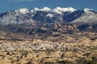 The La Sal Mountains viewpoint is situated in Arches National Park in Utah, USA.