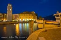 Lake Garda Waterfront Dusk Riva Del Garda Italy Europe