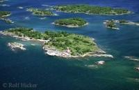 Aerial photographed from a Beaver waterplane over Parry Sound at Lake Huron in Ontario, Canada
