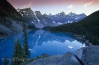 The azure waters of Lake Moraine which is situated in the Banff National Park of Alberta, Canada.