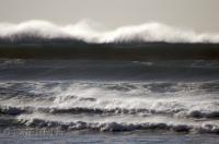 Seen from Cannon Beach in Oregon, these large ocean waves just kept on rolling in.