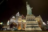 One of the most elaborate hotels along the Strip in Las Vegas is New York New York with the Statue of Liberty.