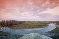 The high level rail bridge is located in Lethbridge in southern Alberta, Canada.