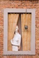Lifelike Art Picture Woman At Window City Of Siena Tuscany Italy