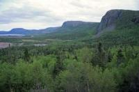 The Long Range Mountains extend from the south western coast to the Northern Peninsula of Newfoundland in Canada.