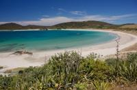 Maitai Beach on the Karikari Peninsula on the North Island of New Zealand curves around the water's edge creating the ideal location for visitors.