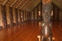 Great Maori Art is for public display in the Maori Meeting House on the famopus Grounds of Waitangi on the North Island of New Zealand