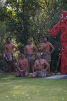 A group of Maori men gather together for a picture at the Wairakei Terraces near Taupo on the North Island of New Zealand.