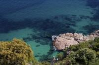 A vacation paradise, the Mediterranean Sea laps the shores of the Costa Brava in Catalonia, Spain.