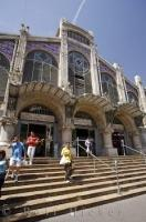 The Mercado Central Market in the city of Valencia, Spain is one of the largest markets in Europe and the building is created in an amazing architecture style.