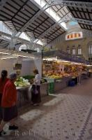 Many Market stalls at the Mercado Central, Central Market, in the City of Valencia, Valencia in Spain, Europe