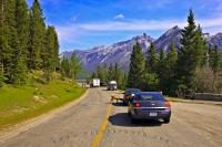 Traffic grinds to a halt along the Minnewanka Loop Road in Banff National Park as visitors stop to take pictures of the wildlife and scenery along the way.