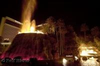 The erupting volcano outside the Mirage Hotel and Casino in Las Vegas, Nevada, USA.