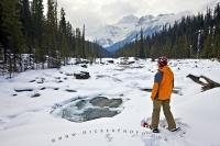Mistaya River Snowshoeing Winter Landscape Banff National Park