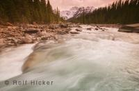 The pristine Mistaya River runs through the Banff National Park of Alberta, Canada,