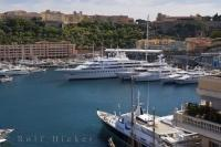Luxury yachts of various sizes moor at the Port Hercule marina in La Condamine near Monte Carlo, Monaco and the Provence region of France steadily throughout the year.