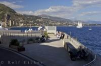 Looking eastward across the Monte Carlo waterfront in Monaco on the Cote d'Azur in Provence, France in Europe.