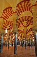 Beautifully preserved arches and columns remain as part of the Mosque Cathedral, aka Mezquita, in the city of Cordoba, Andalusia, Spain.