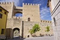 The entrance gate welcomes visitors to the medieval village of Morella in Valencia, Spain.