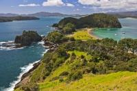 Lush greenery separates the two different looking sides along the coastline of Motuarohia (Roberton) Island on the North Island of NZ.
