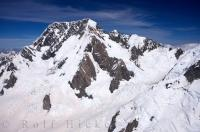 The snow covered mountain peak of Mount Cook on the South Island of New Zealand.
