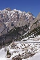 The snow covered mountain pass known as Passo Valparola sits at 2168 meters in South Tyrol, Italy.
